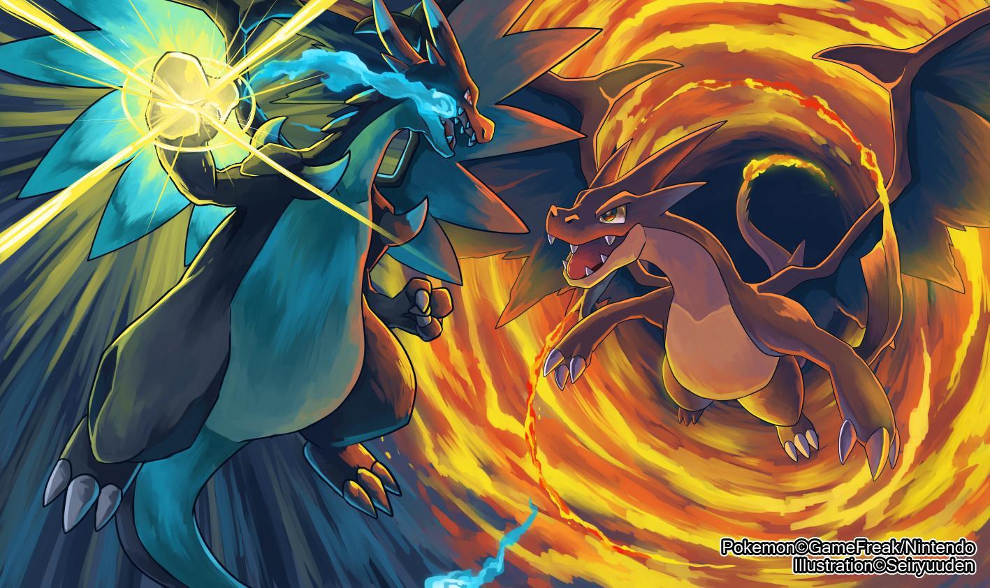 Mega Charizard X Versus Y My wallpaper atm Credits to the artist 1417x842