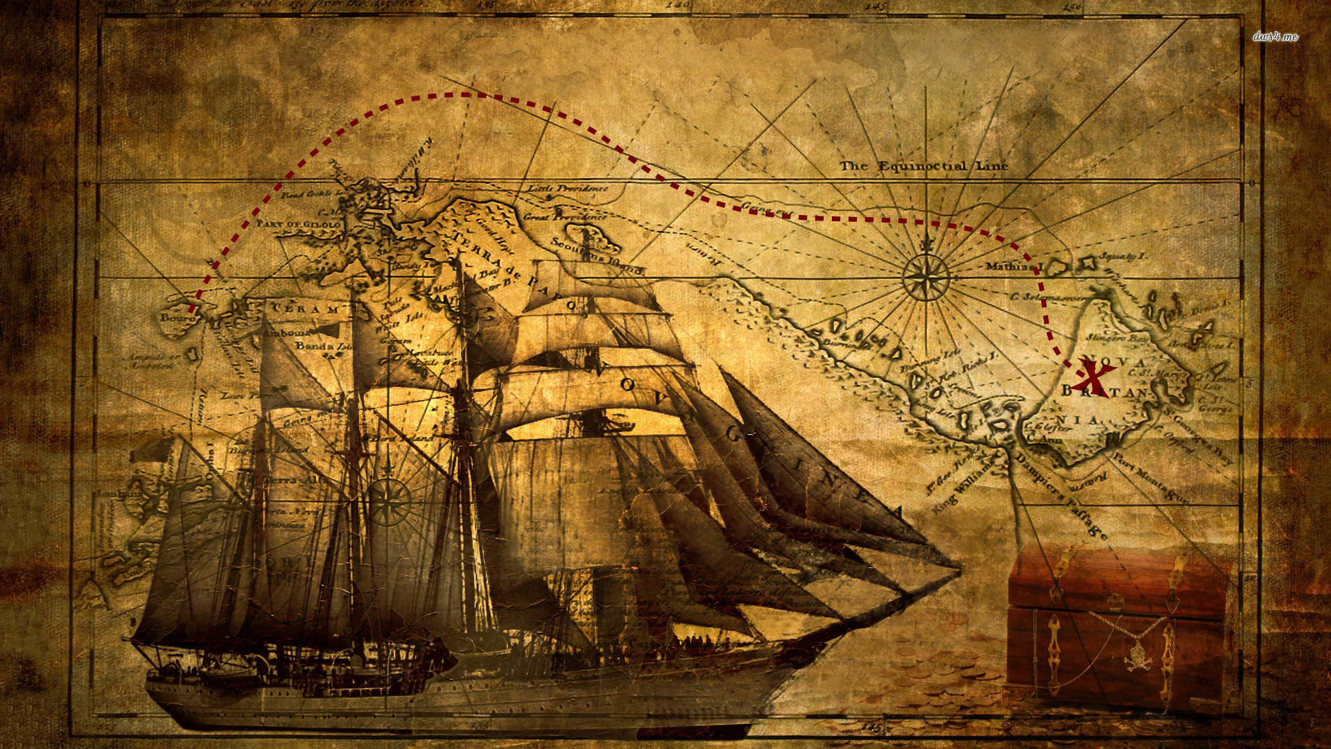 Old Ship With Map Wallpaper   Digital Art Wallpapers   #8710