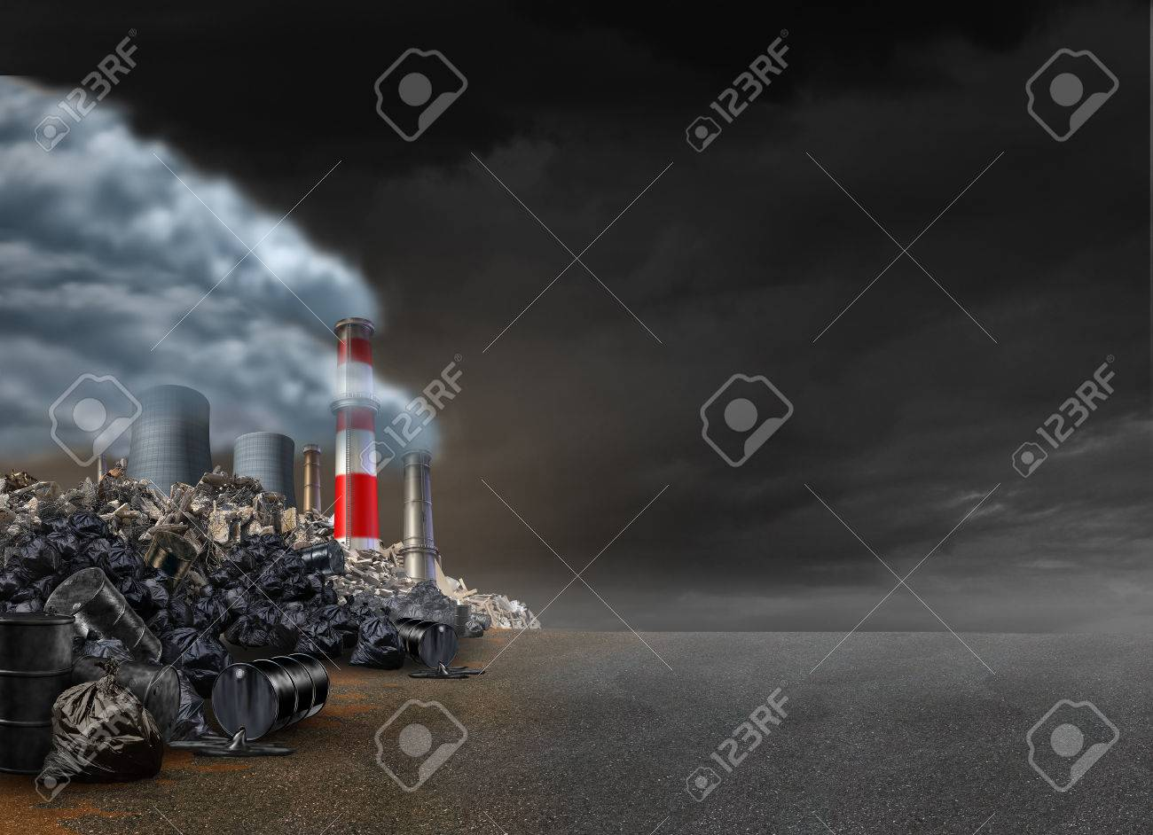 Pollution Background And Power Plant Emitting Polluted Air With 1300x942