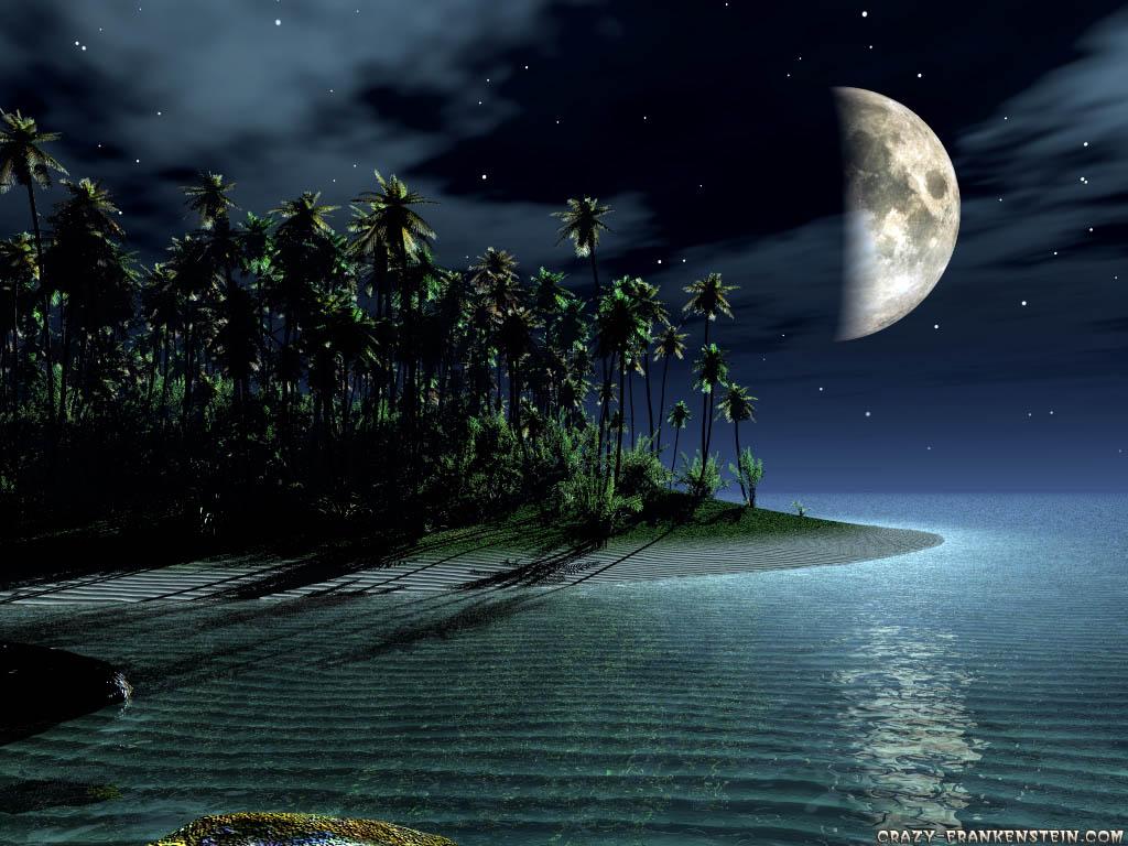 Wallpaper Island and moon 3D landscape wallpaper 1024x768