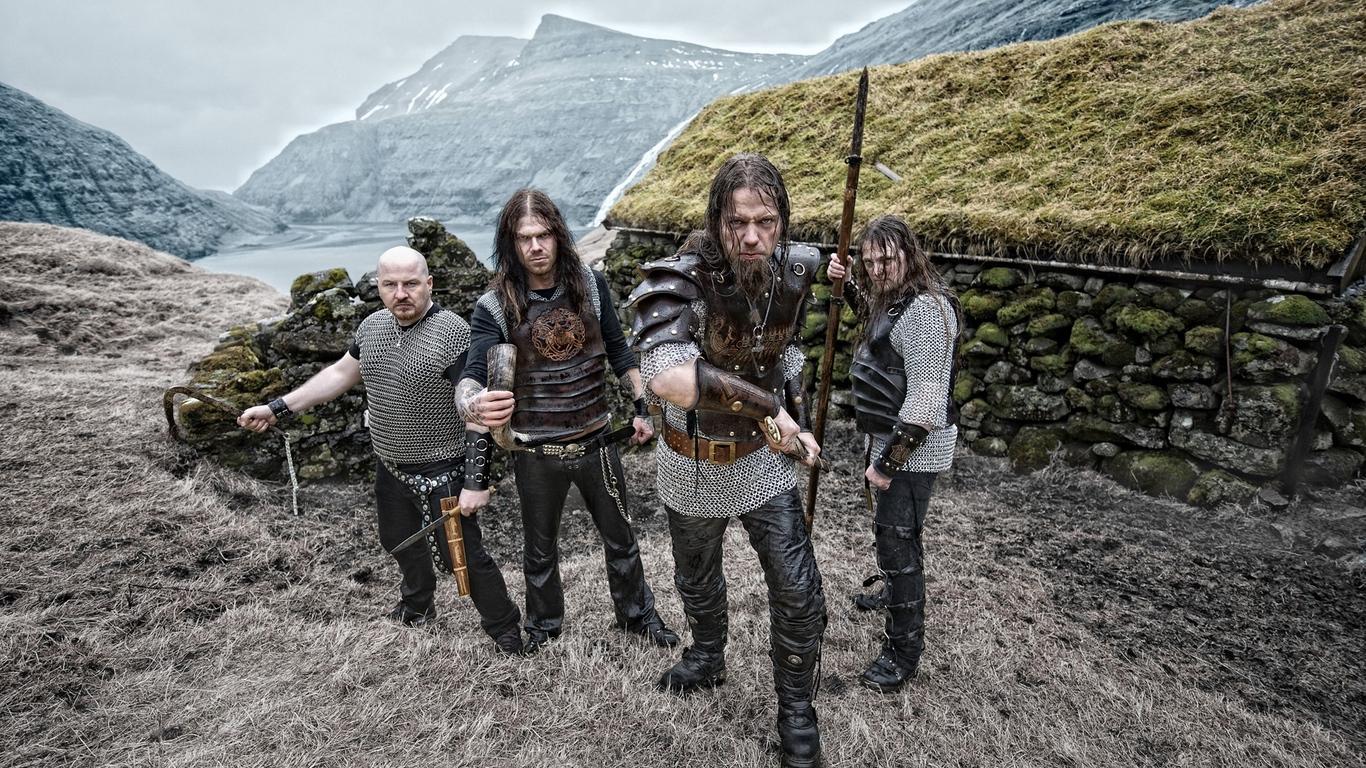 Download wallpaper 1366x768 tyr warriors band mountains bald 1366x768