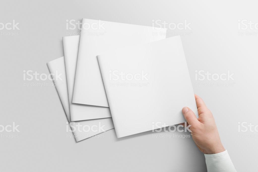 Blank Square Photorealistic Brochure Catalogue Mockup On Light 1024x683