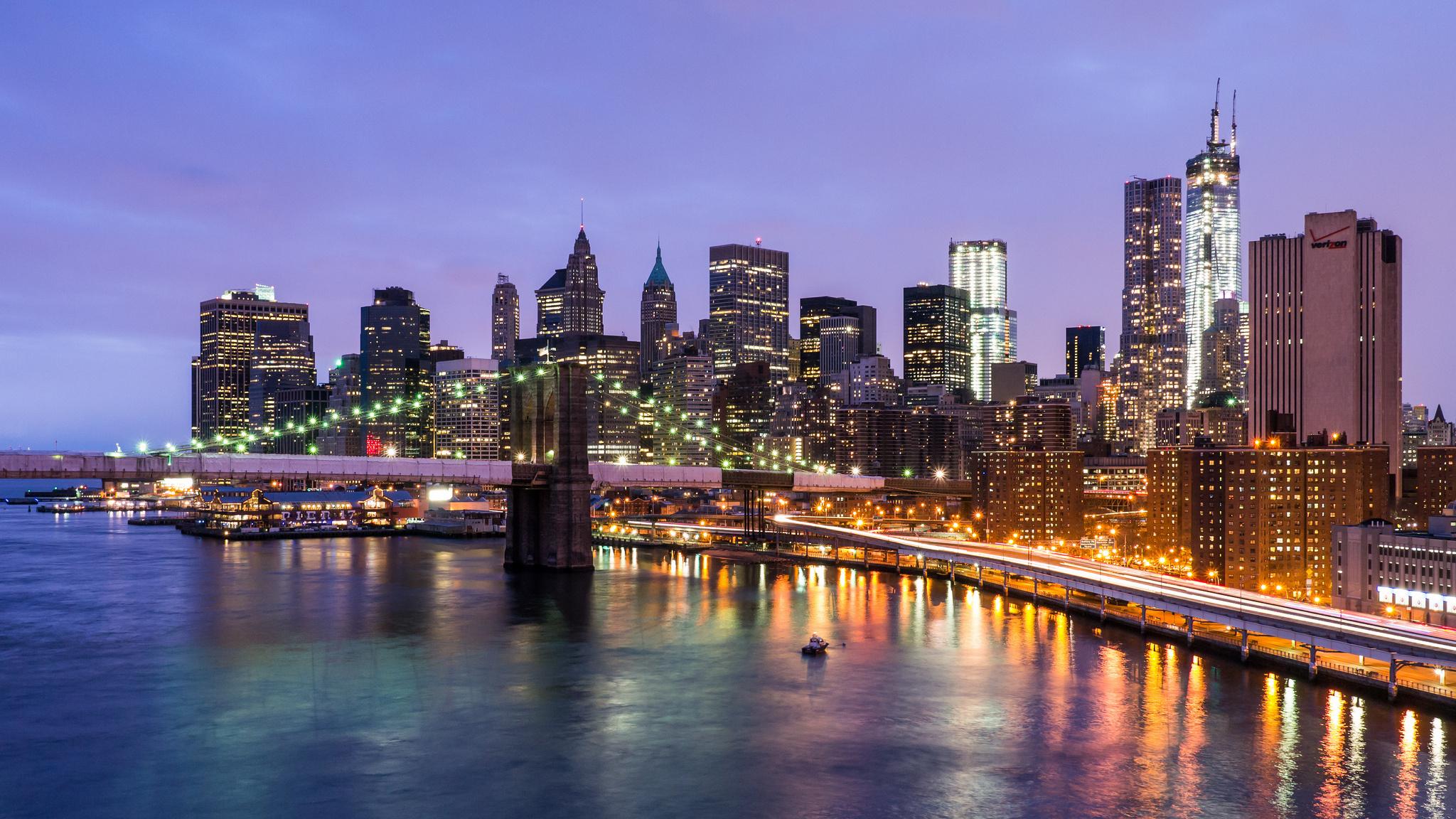 Bridge Manhattan East River New York City NYC USA New York City 2048x1152