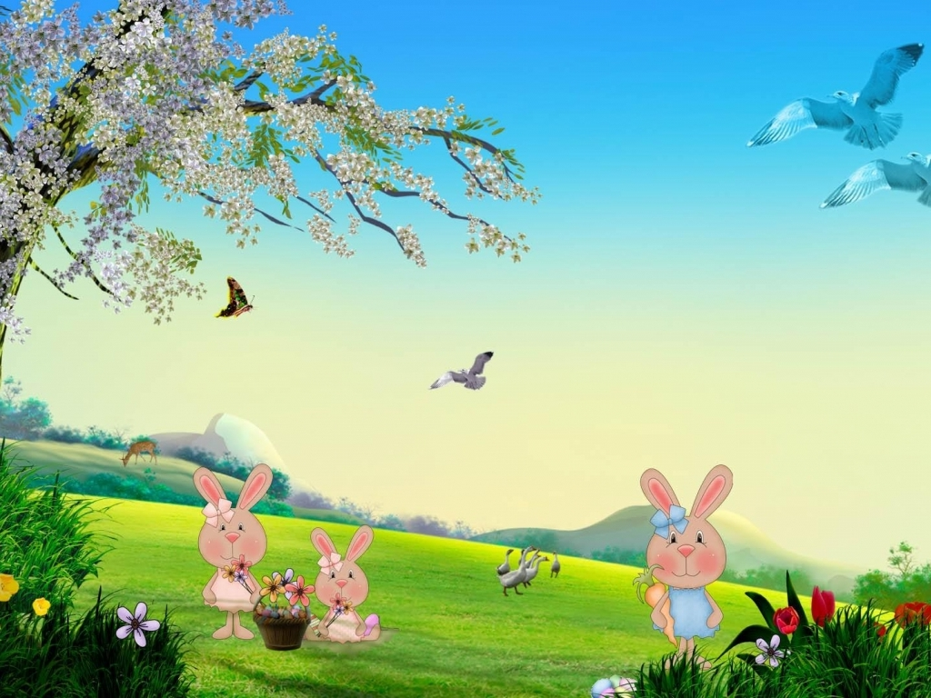 Free Download Download Easter Bunny Spring Wallpaper In Cartoon