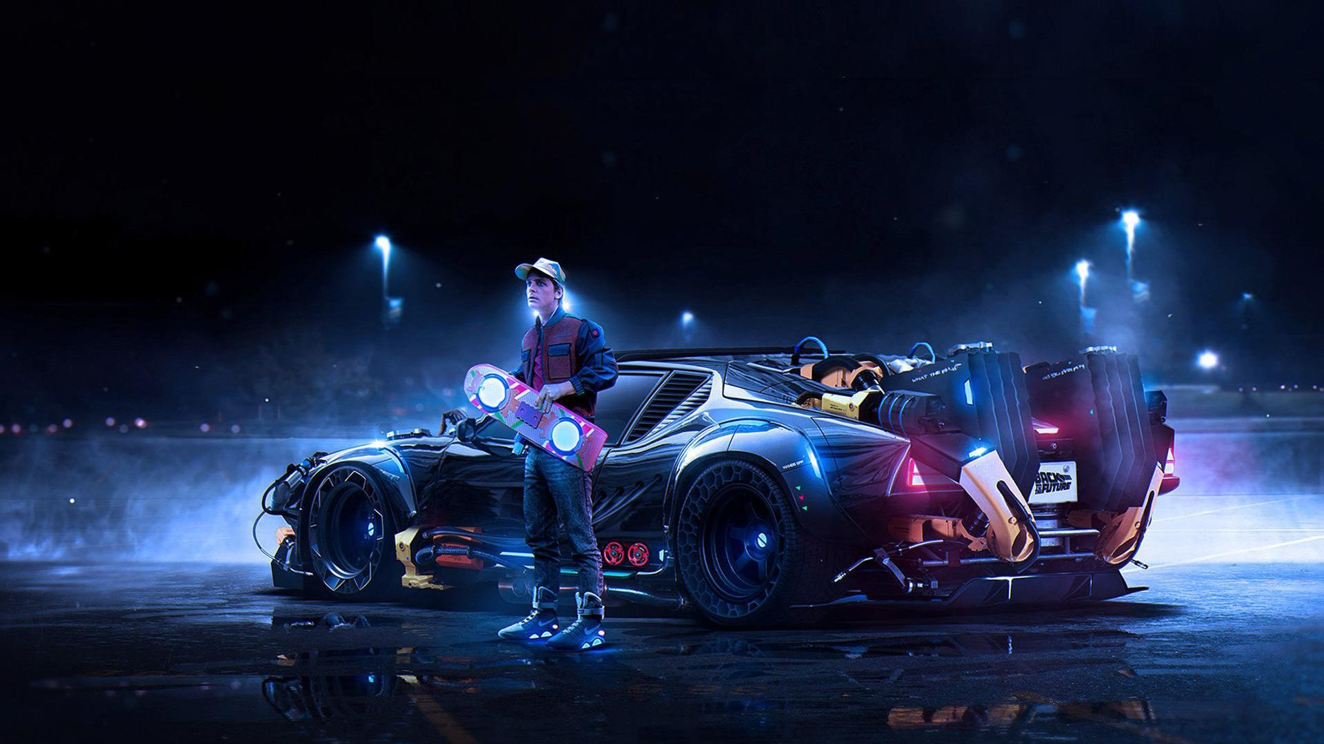 Wallpaper of Back To The Future DeLorean Marty McFly background 1920x1080