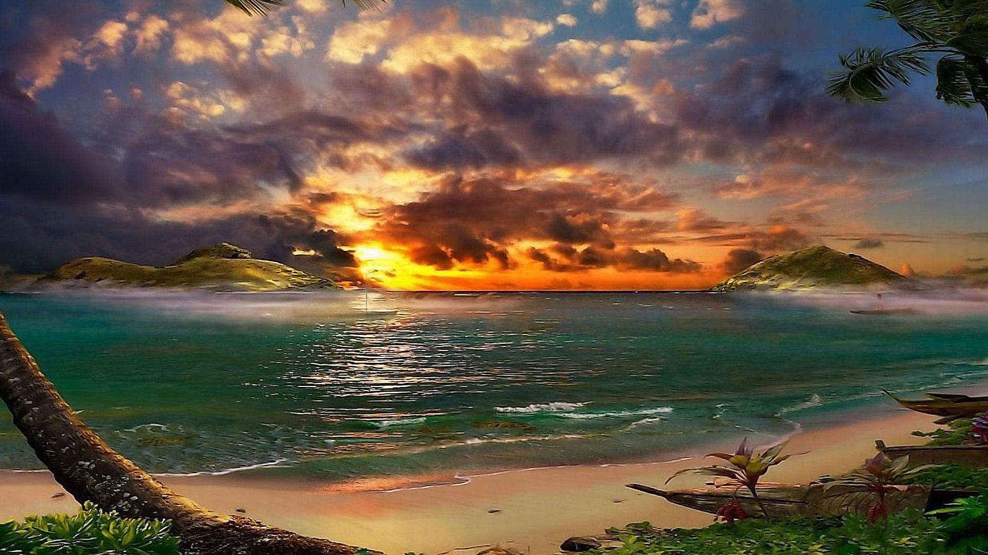 Tropical sunset wallpaper   745030 1920x1080