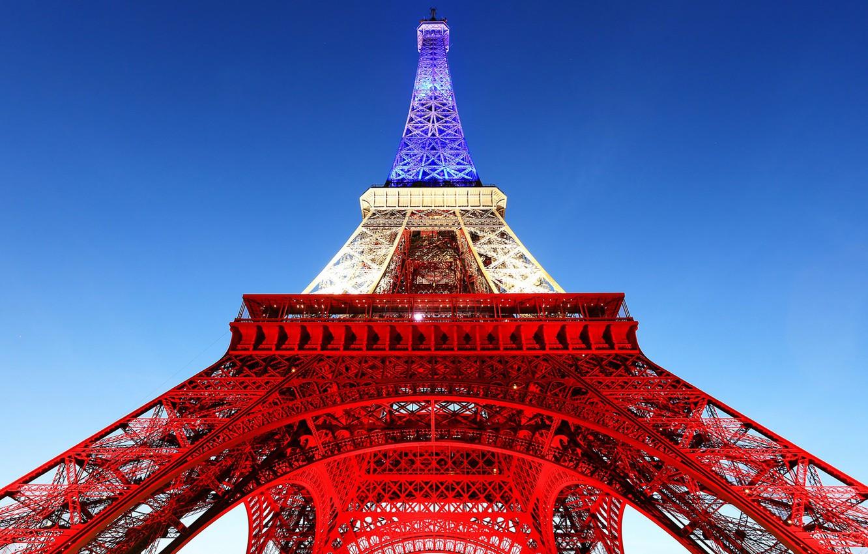 Wallpaper Paris France Eiffel Tower France flag images for 1332x850