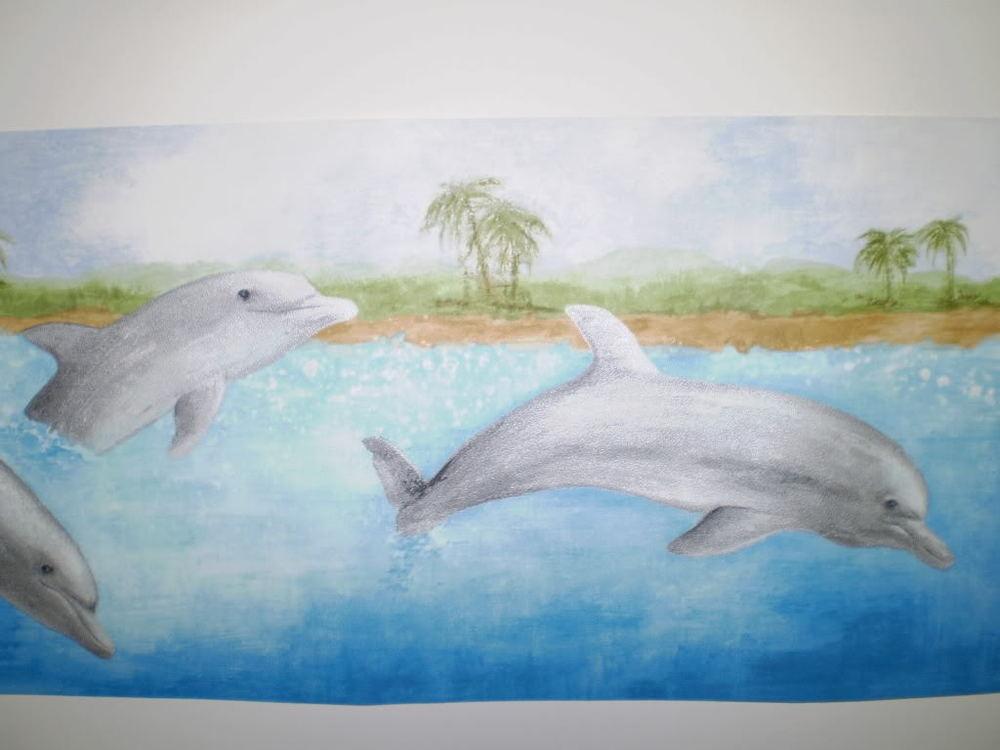 Dolphins on Multi Color Ocean Scene Border by Norwall GU79261N eBay 1000x750