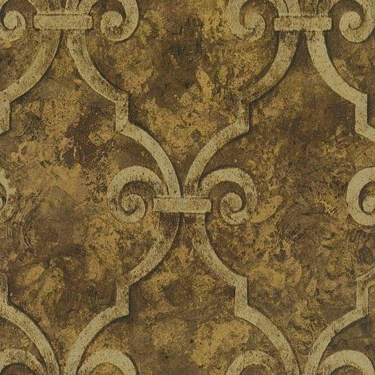 Buy Wallpaper Designer Gold Metallic Trellis Lattice on Brown Faux by 544x544