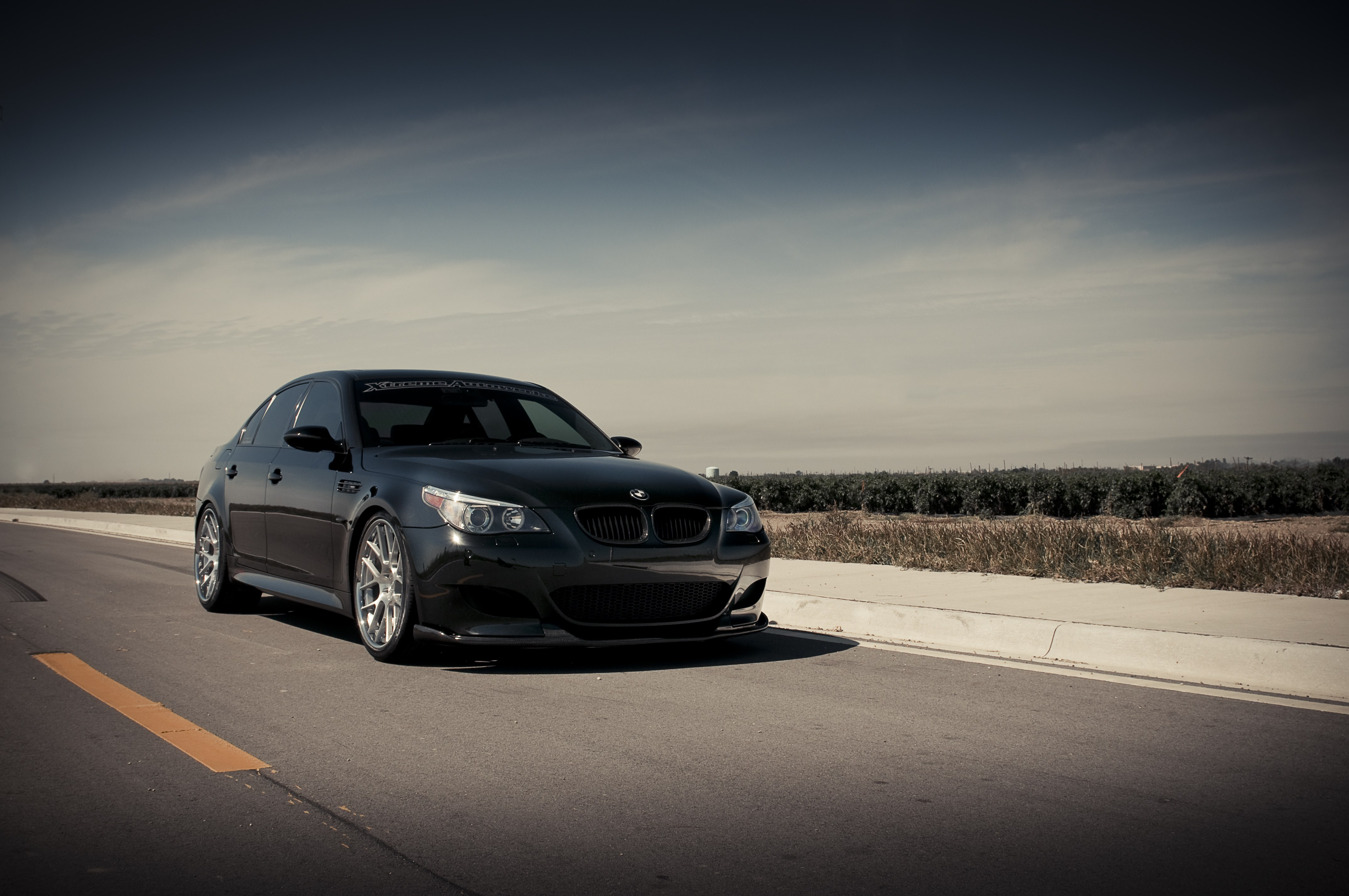 Wallpapers Bmw M5 E60 Black The Front Part Of Sky 4288x2848