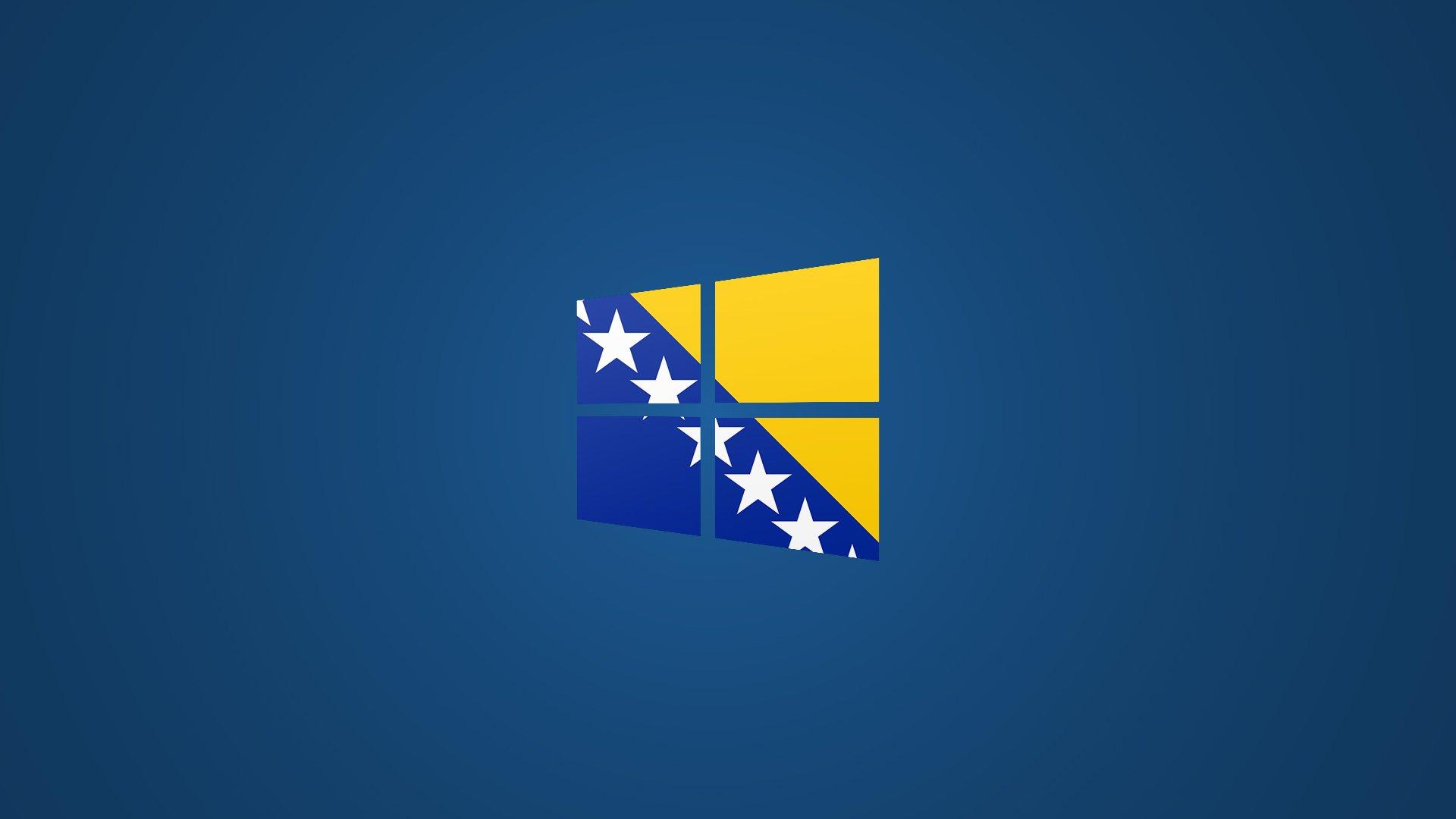 Windows 8 Bosnian Flag Logo Wallpaper Blue by Edinev 1920x1080