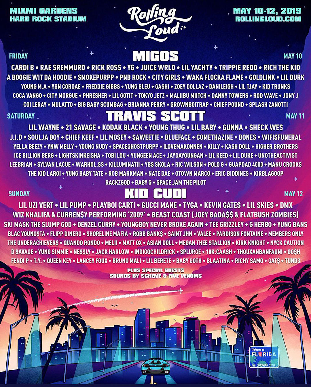Travis Scott Kid Cudi Migos to Headline 2019 Rolling Loud Miami 1080x1346