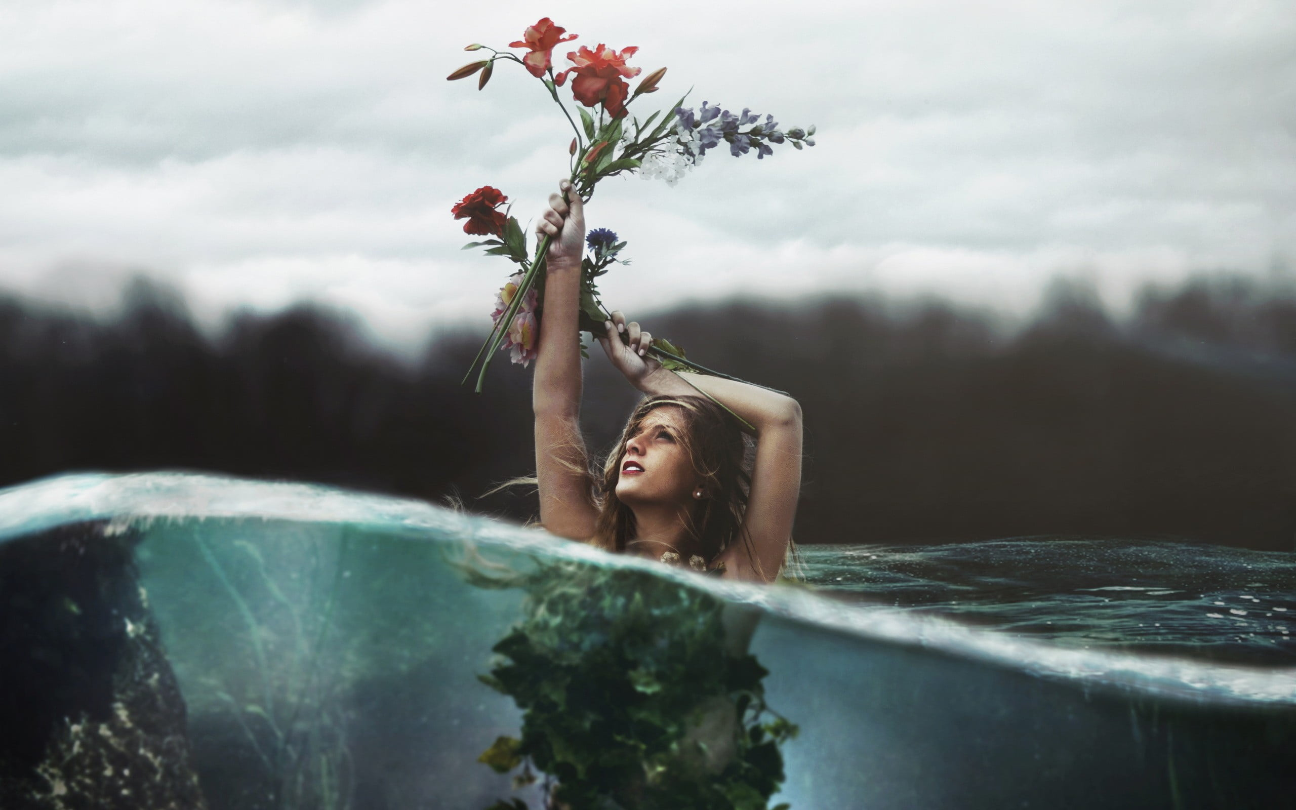 Woman half submerged in water holding up a red flower half 2560x1600