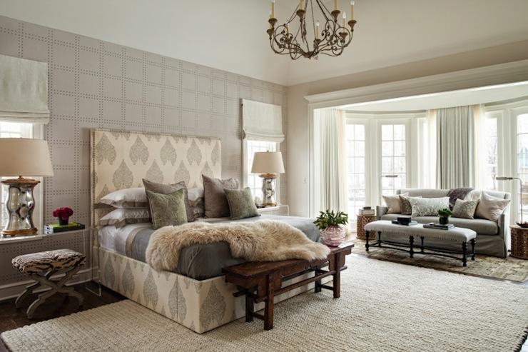 Beautiful master bedroom with Phillip Jeffries Rivets Wallpaper in 740x493