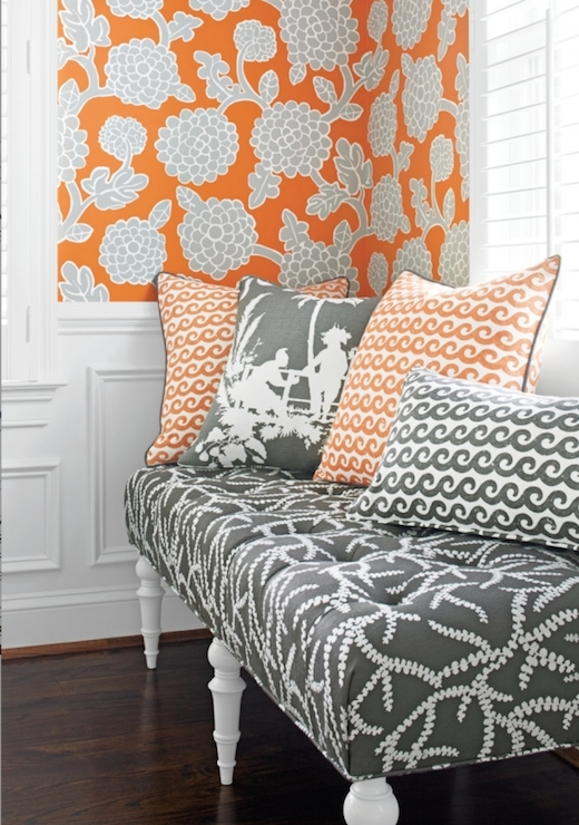 Orange and Gray Wallpaper Contemporary living room Thibaut Design 520x740