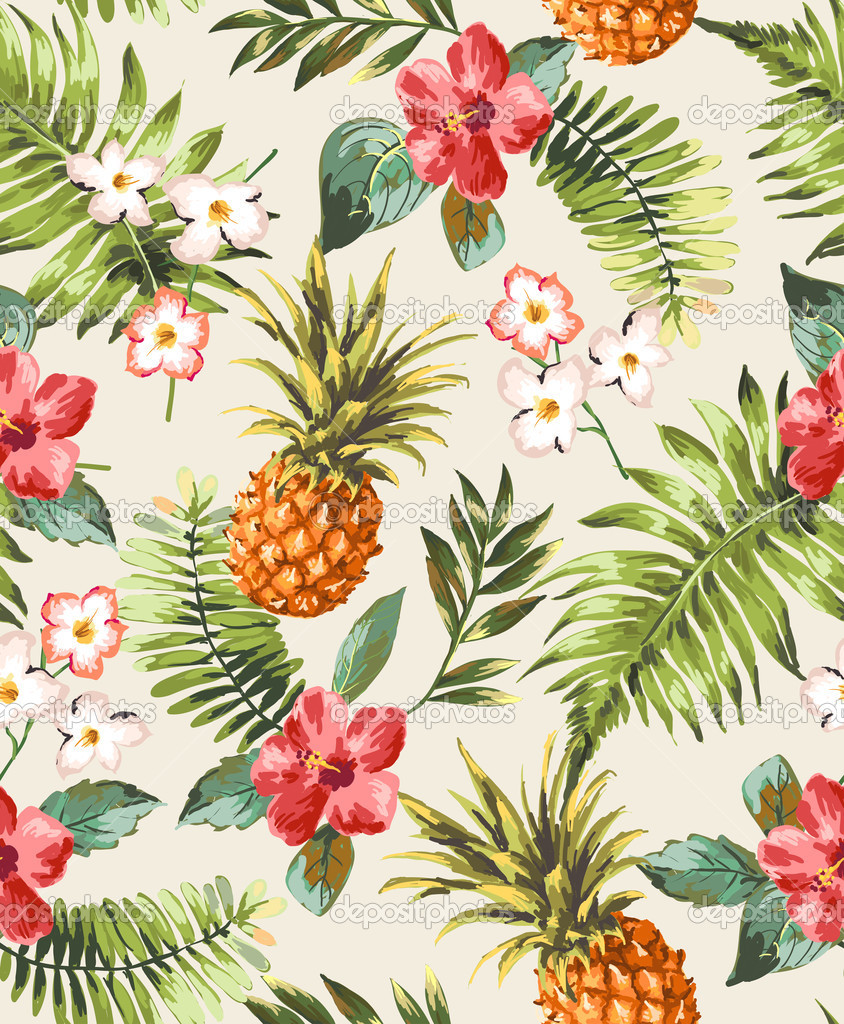 Free Download Tropical Wallpaper Pattern Vintage Seamle 844x1024