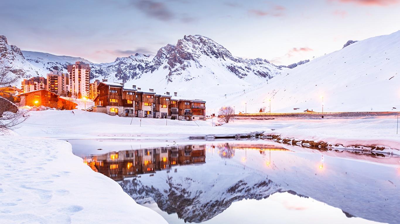 Photos Alps France Tignes Nature Winter Mountains Snow 1366x768 1366x768