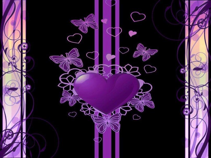 Purple And Black Hearts Wallpaper: Purple Heart Wallpaper