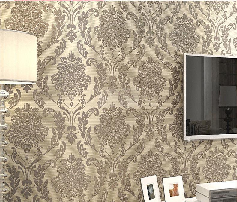 Grey Beige Damask Embossed Textured Flocking Background Wallpaper 790x672
