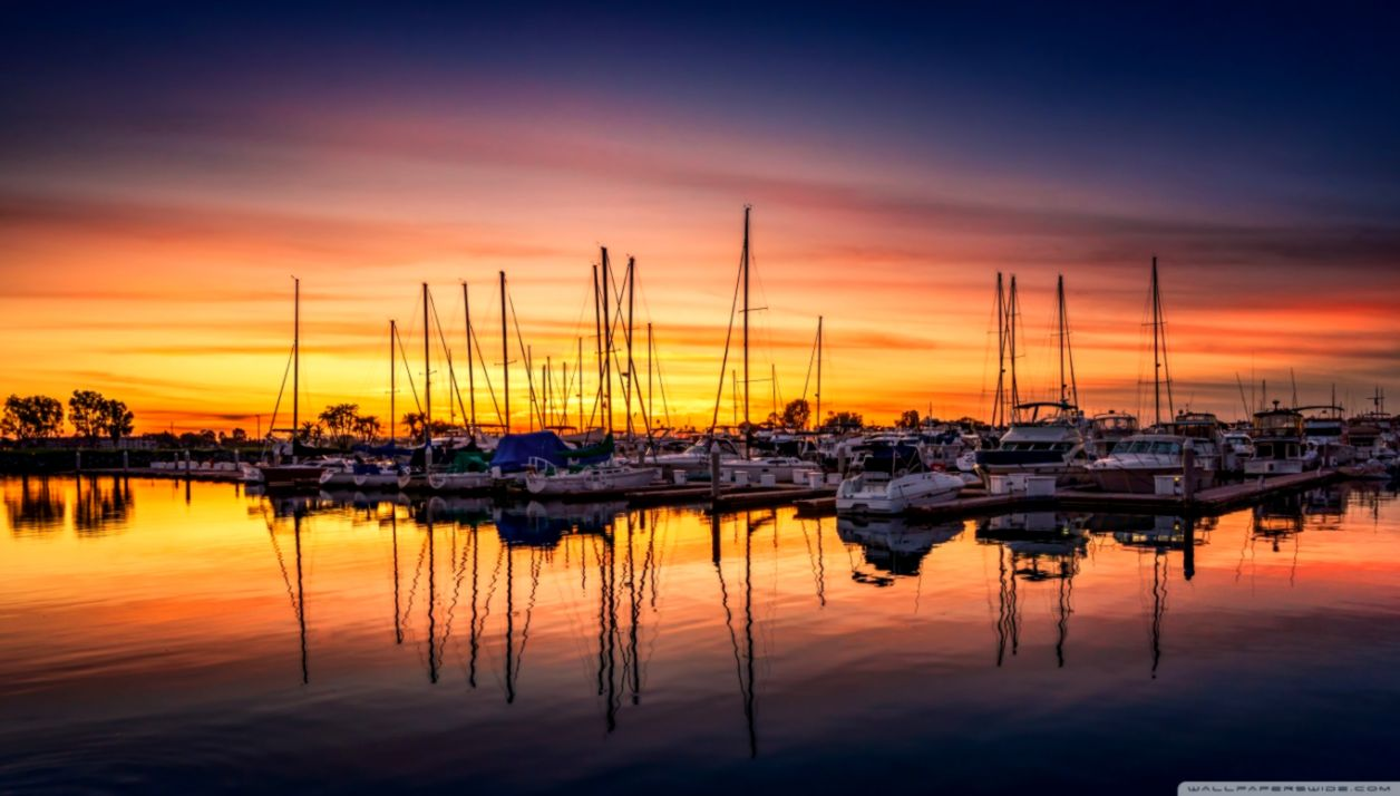 Sunset Harbour Wallpaper Wallpapers Nature 1256x714