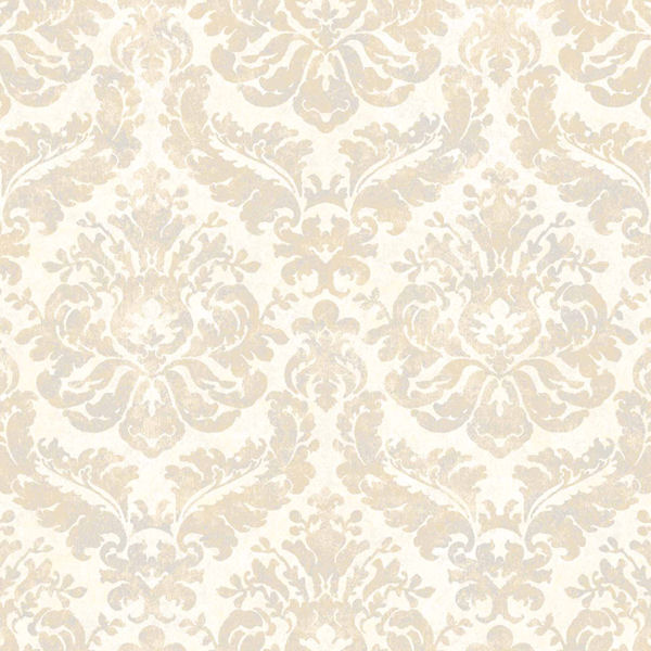 Grey and Tan Feathery Damask Wallpaper   Wall Sticker Outlet 600x600