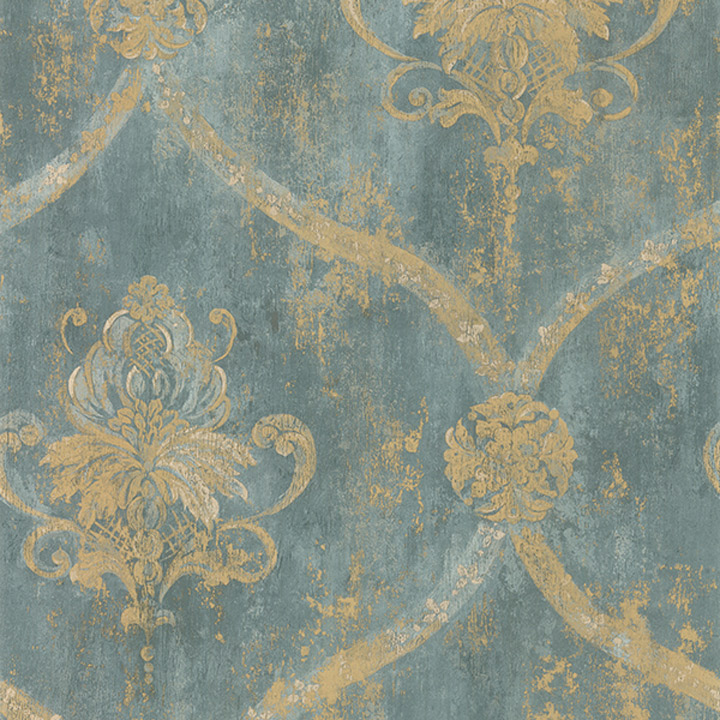 Details about Wallpaper French Faux Aqua Blue Large Damask with Gold 720x720