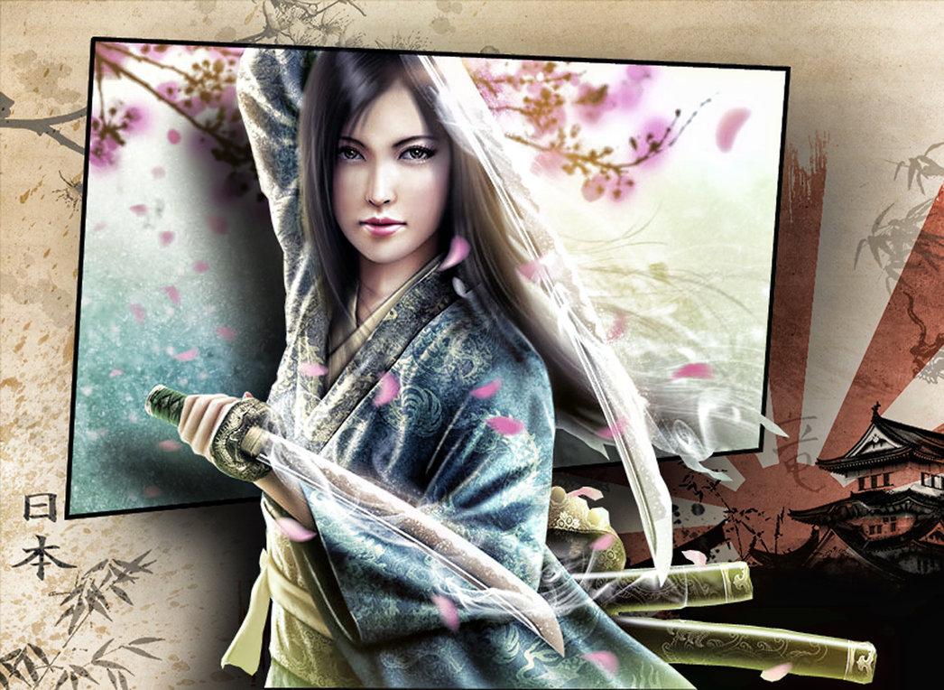 wallpaper samurai girl 4 by spaceibiza1313 1046x764