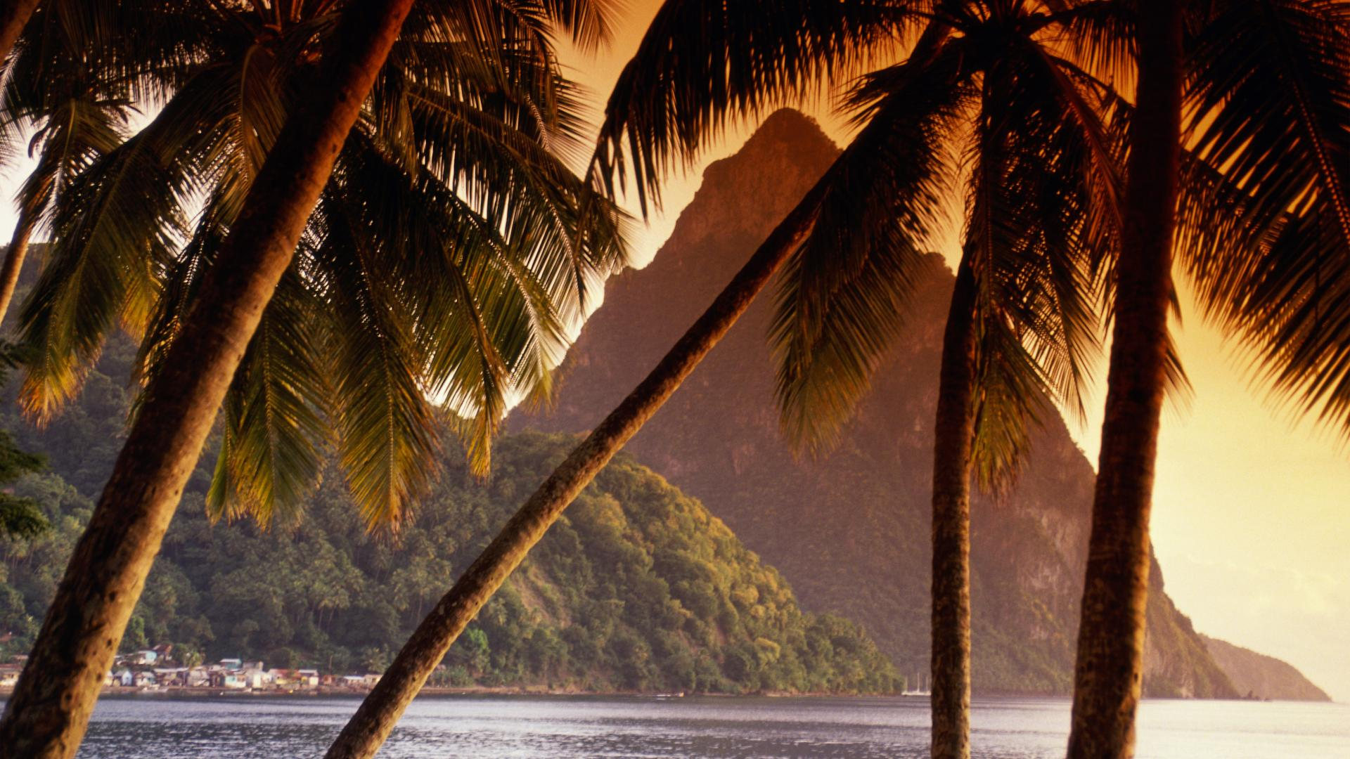 backgrounds wallpaper background soufriere piton beach lucia 1920x1080