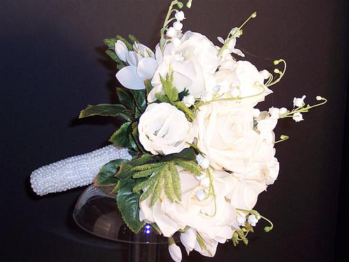 White rose bouquet with Lily of the Valley 500x375