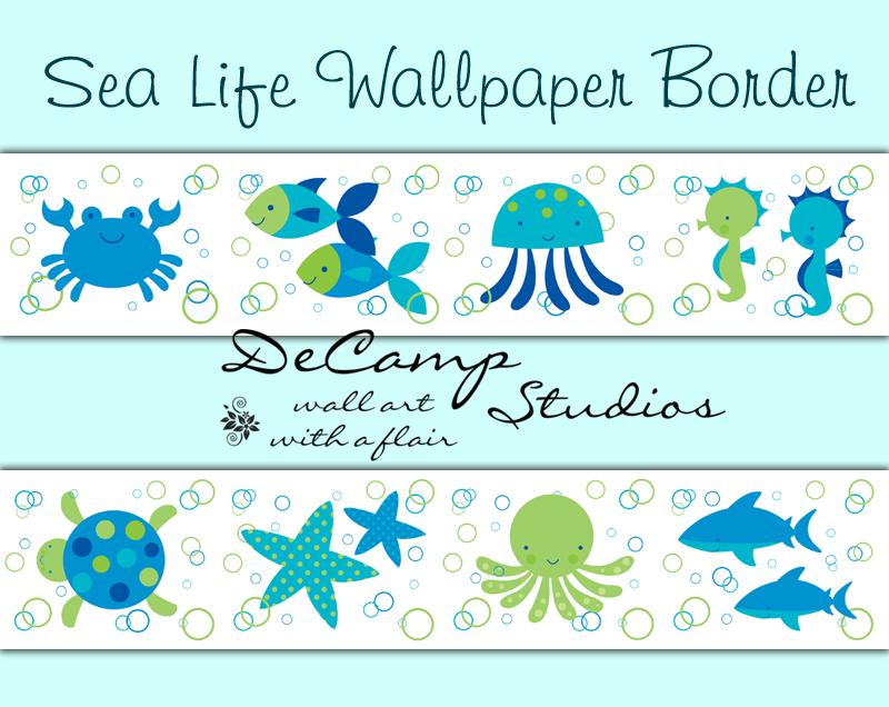 Sea Ocean Life Wallpaper Border Wall Decals Baby Nursery Decor [391 800x636