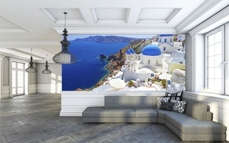 Azure Blue of Santorini   Loft Room Wallpaper Wall Murals 800x500