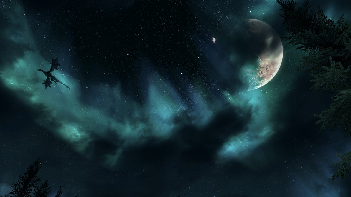 Skyrim dragon night sky wallpaper by Mallony 1191x670