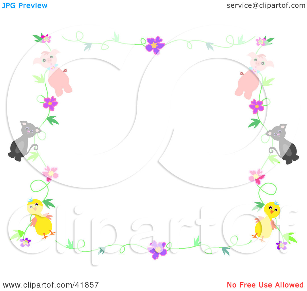 Clipart Illustration of a Pig Cat And Chick Floral Stationery Border 1080x1024