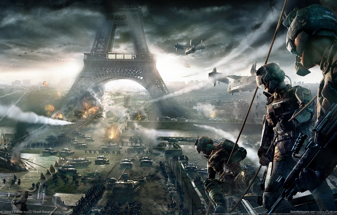 Wallpaper war Eiffel tower Paris helicopters soldiers game 1332x850