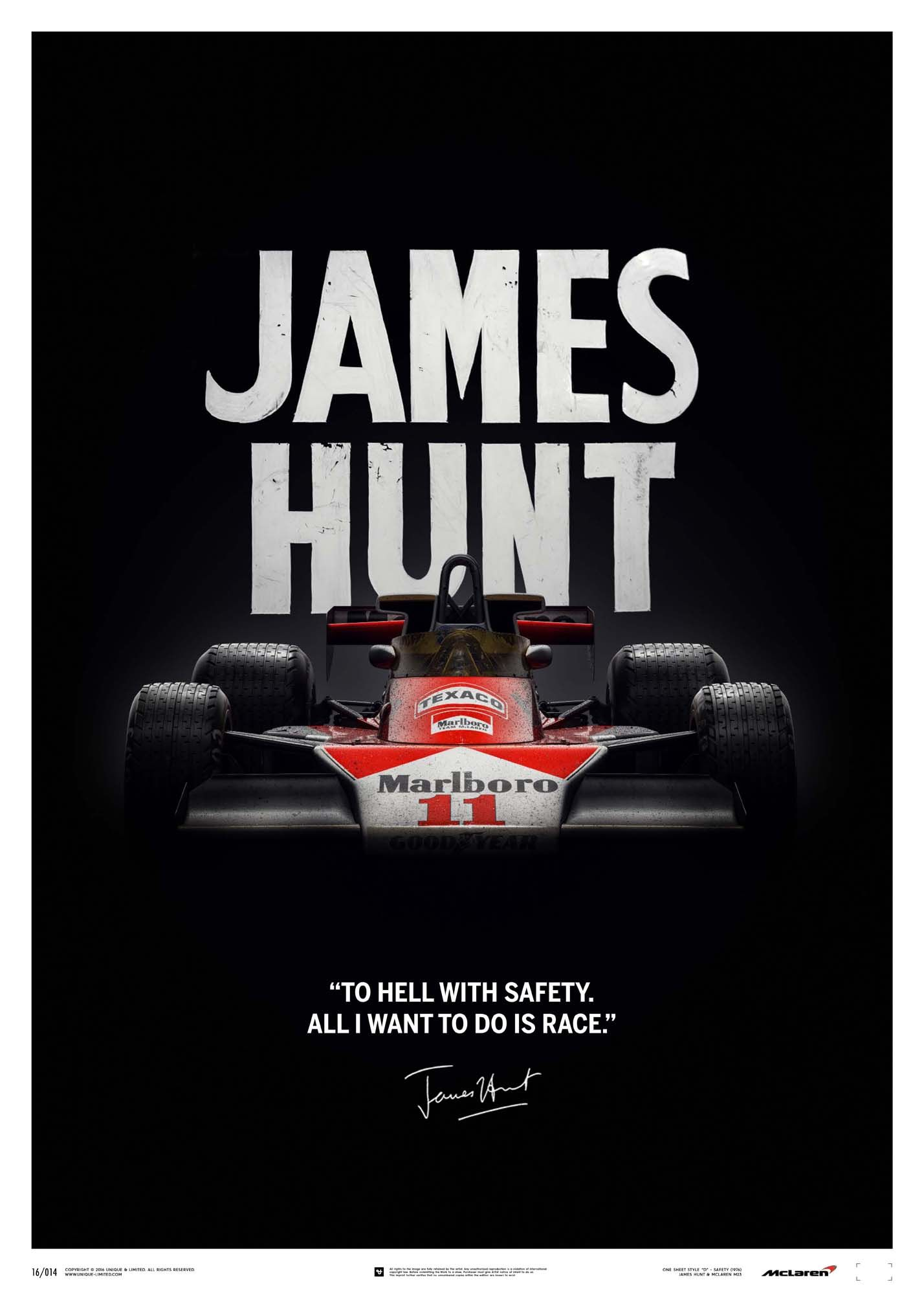 McLaren James Hunt 40th Anniversary Quote Limited Edition Poster 1428x2000