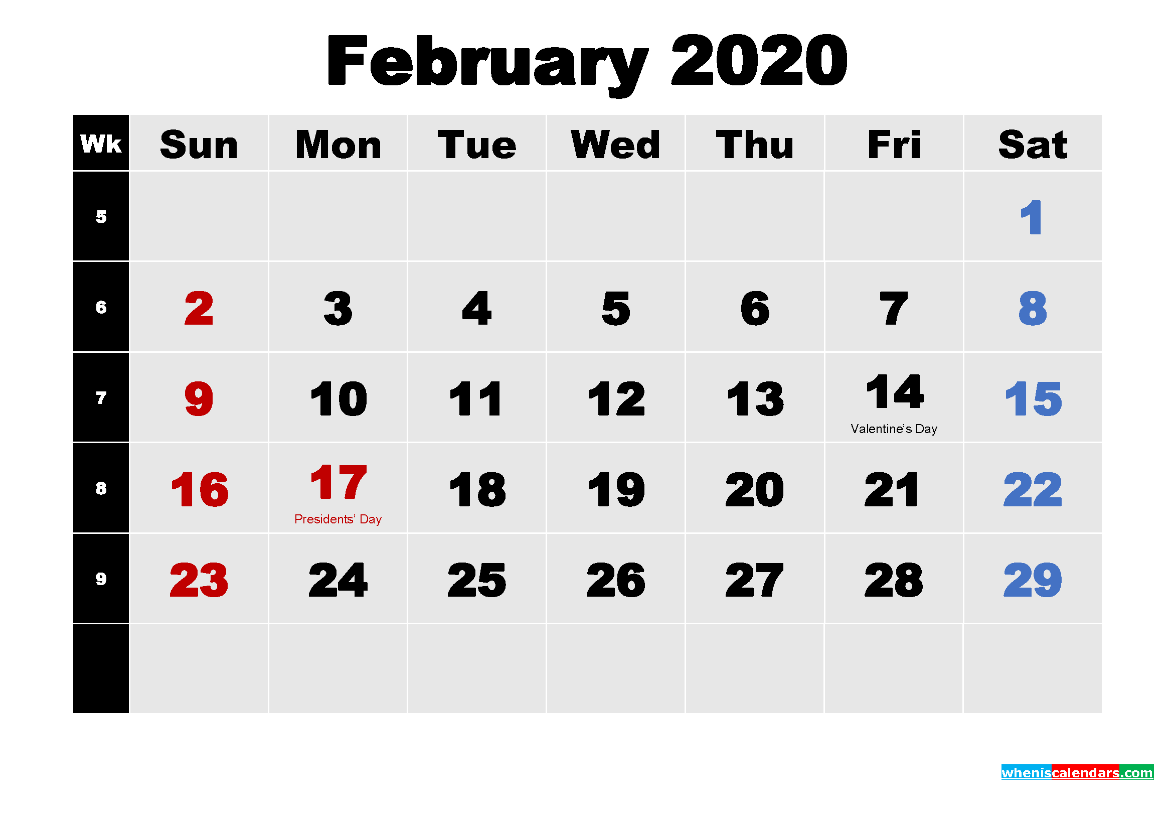 download Printable 2020 Calendar with Holidays February 2339x1654