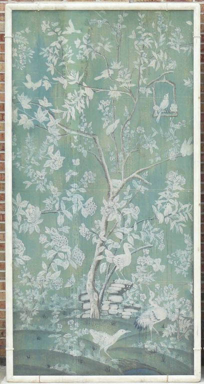 Large 30s French Chinoiserie Hand Painted Framed WallPaper Panel image 408x768
