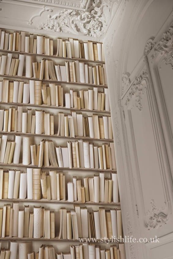 Free Download Vintage Ivory Library Bookshelf Wallpaper