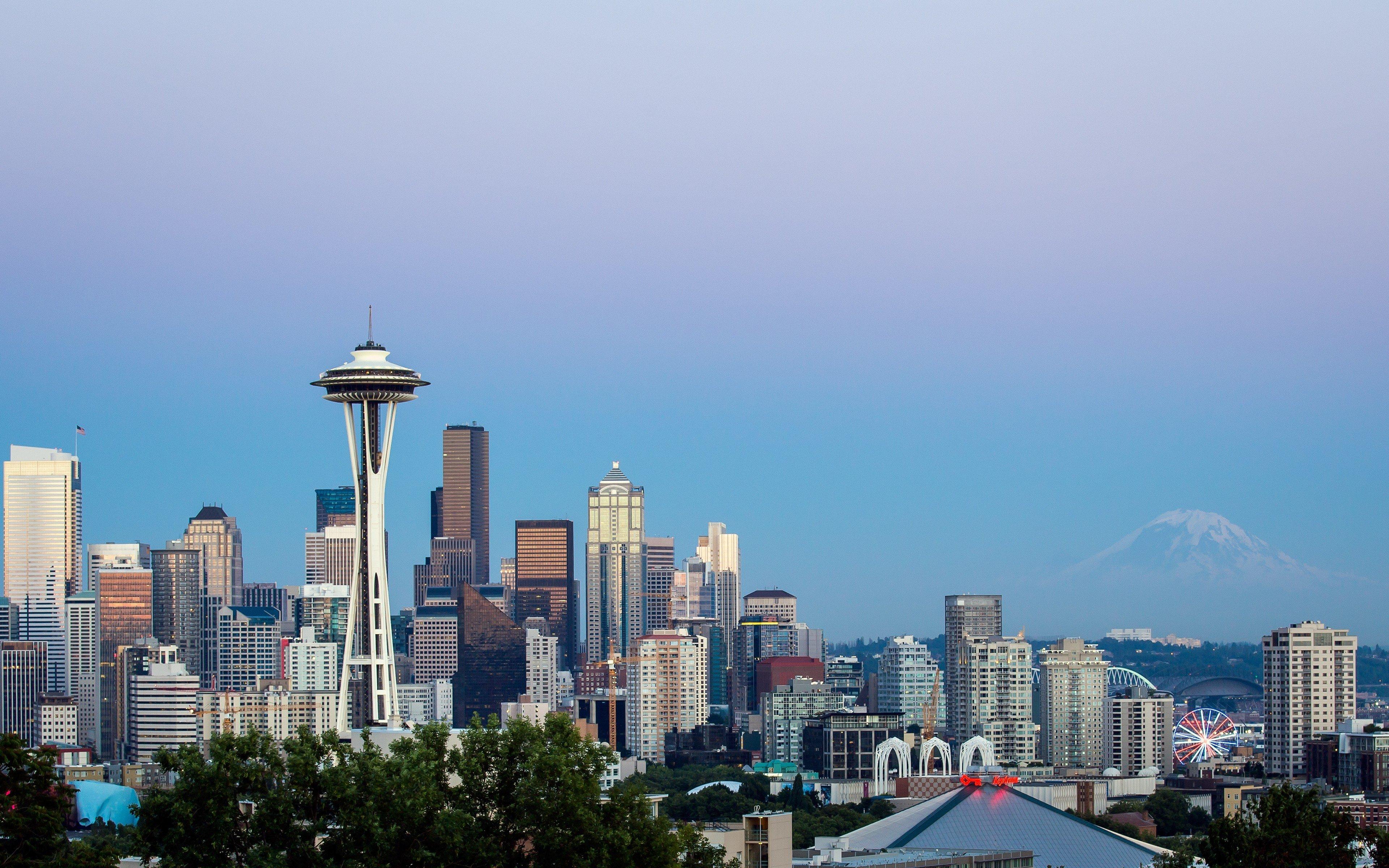 Seattle USA skyscrapers Washington Space Needle wallpaper background 3840x2400