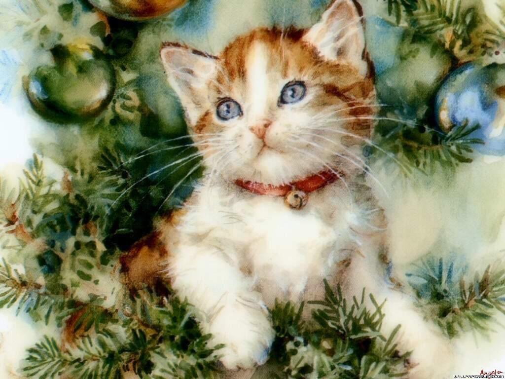Vintage Christmas Cat Wallpaper