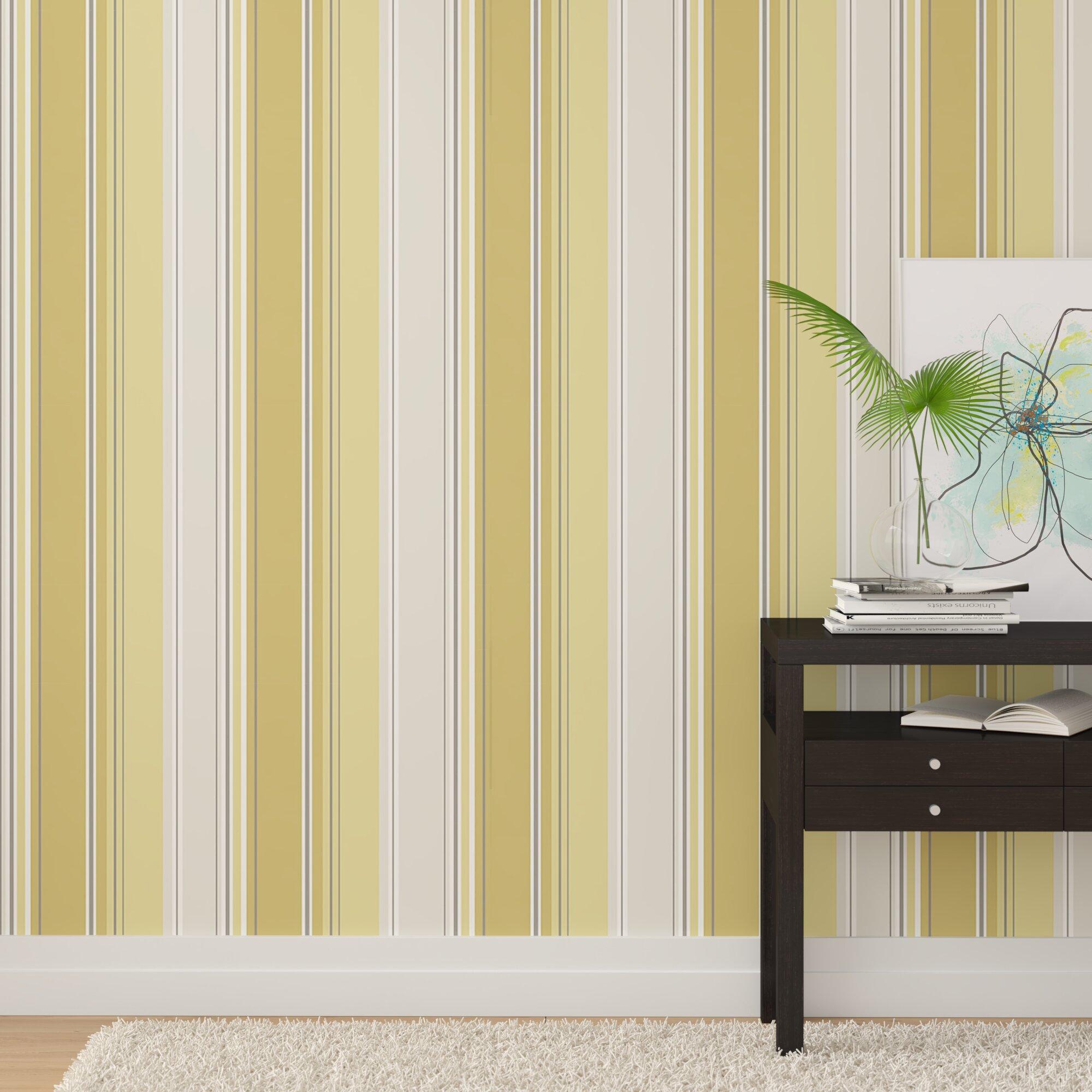 Ebern Designs Bodie Striped 33 L x 205 W Wallpaper Roll Wayfair 2000x2000