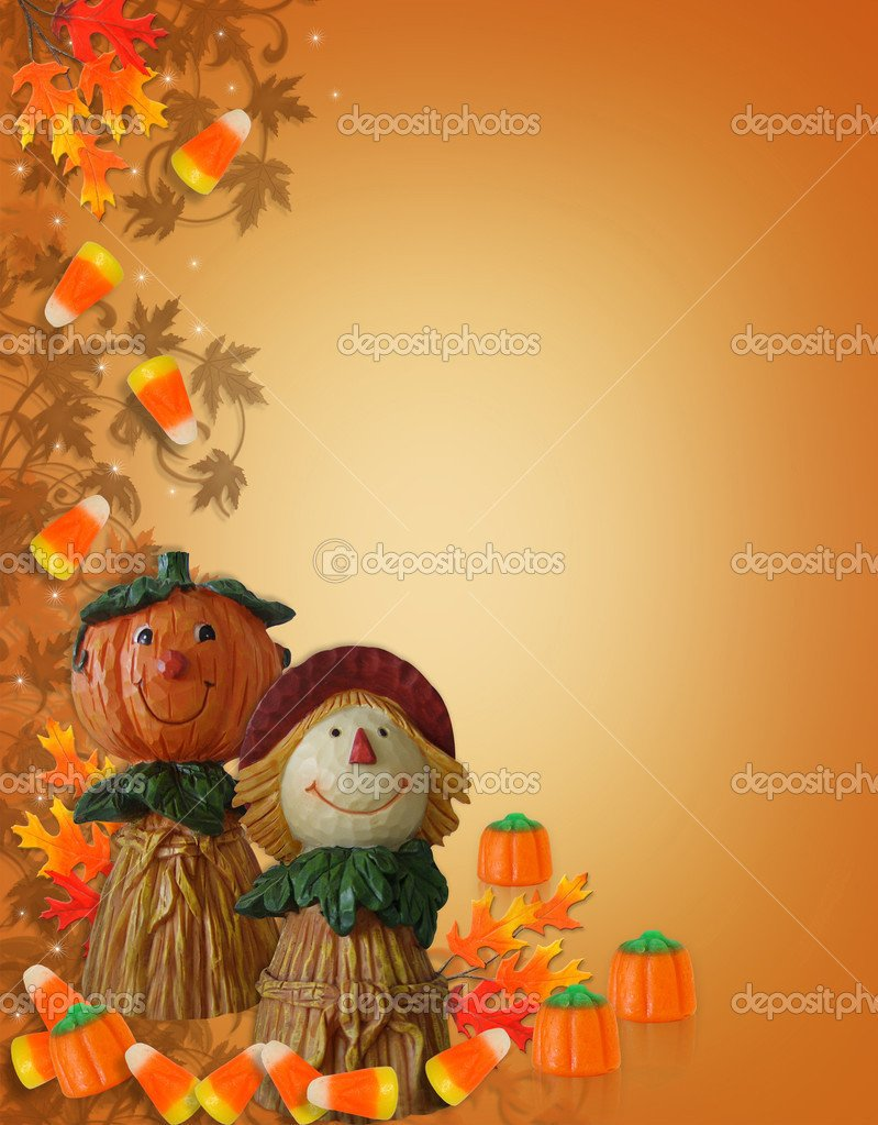 Stock photo of halloween pumpkins on white background with fall leaves 799x1023