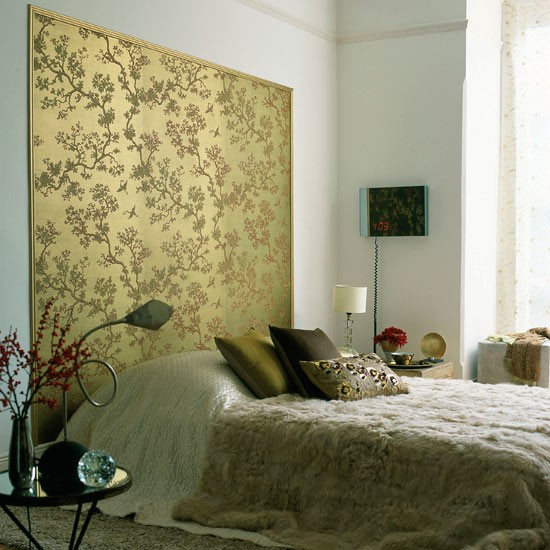 eye catching headboard Bedroom wallpaper ideas housetohomecouk 550x550