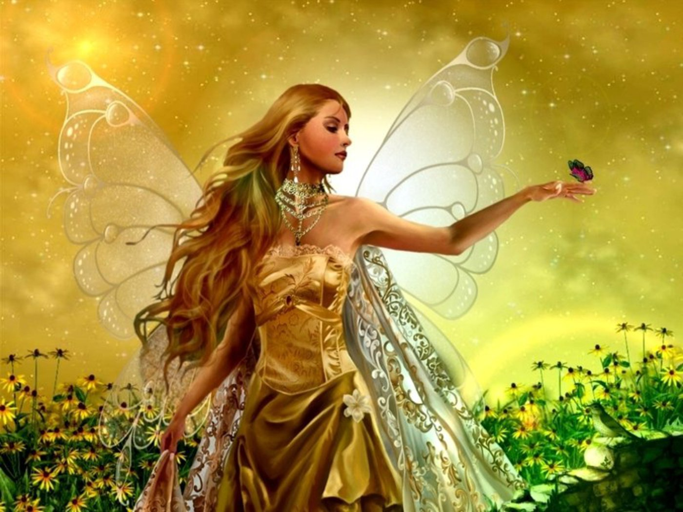 download Fairy And Butterfly Angel Wallpaper 1400x1050 Full 1400x1050