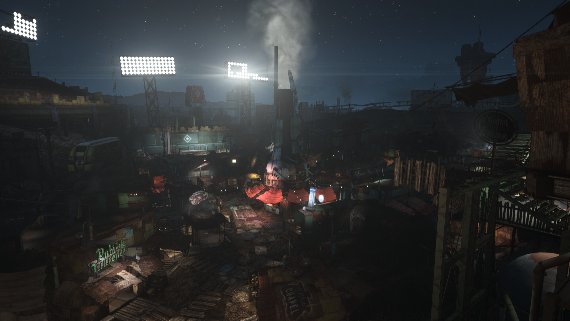 Diamond City at night fo4 1920x1080