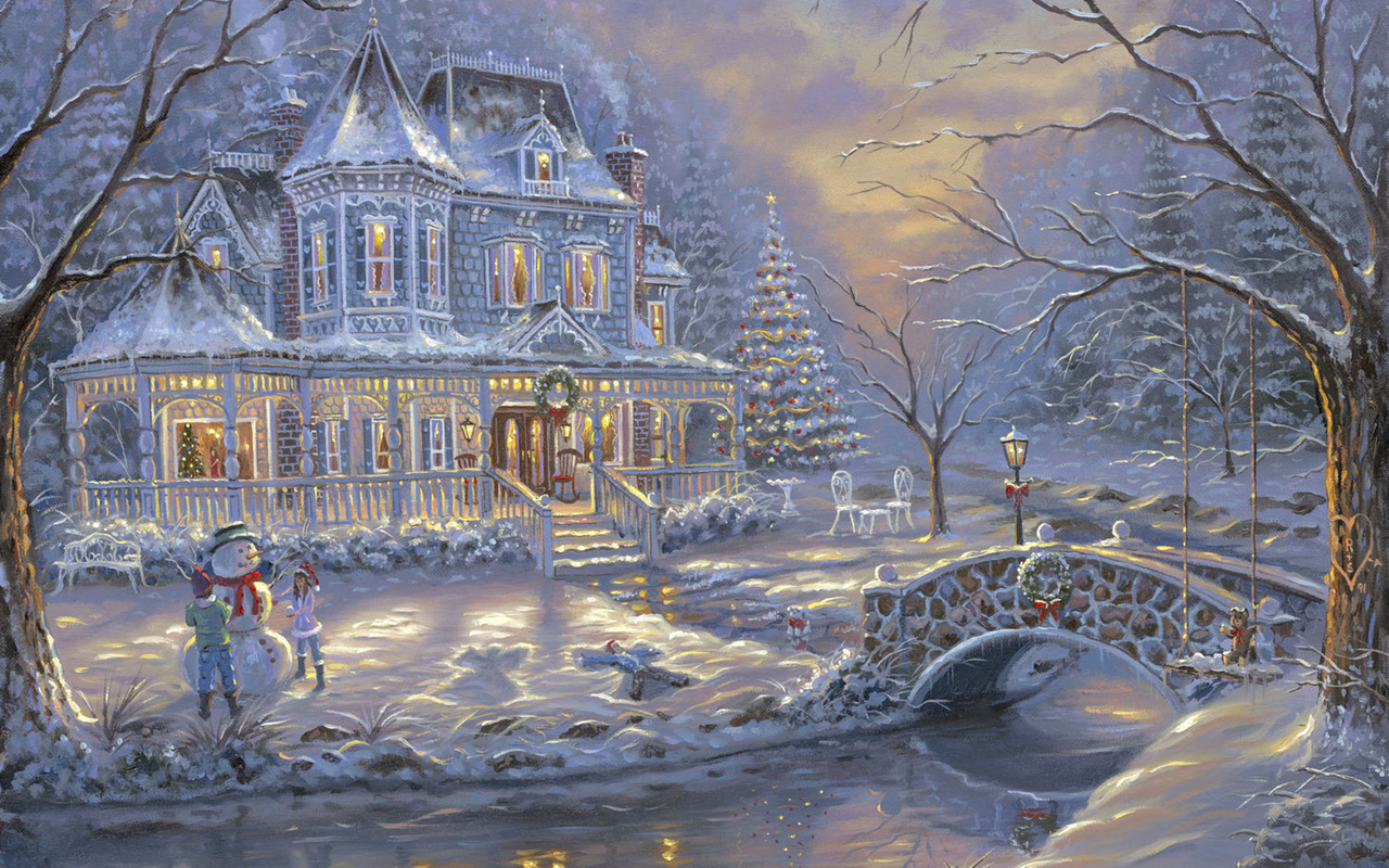 Wallpaper cottage Christmas tree snowman kids bridge river 1280x800