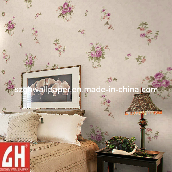 China Country Style Big Flower Vinyl Wallpaper for Bedroom Walls 600x600