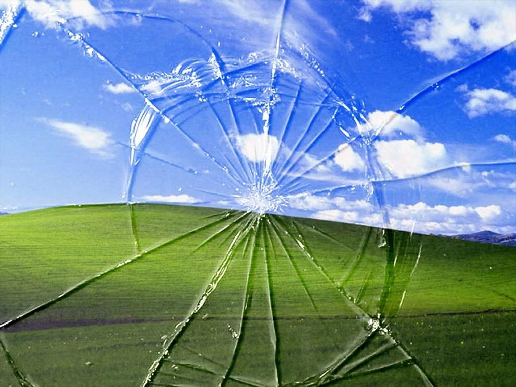 Windows XP Broken Screen Wallpaper 1024x768