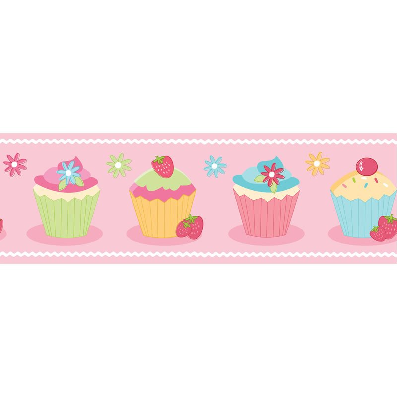 Details about Pink   Cupcake Wallpaper BORDER   BO05466 800x800