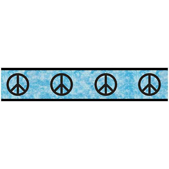 Discontinued Peace Blue Wallpaper Border 583x583